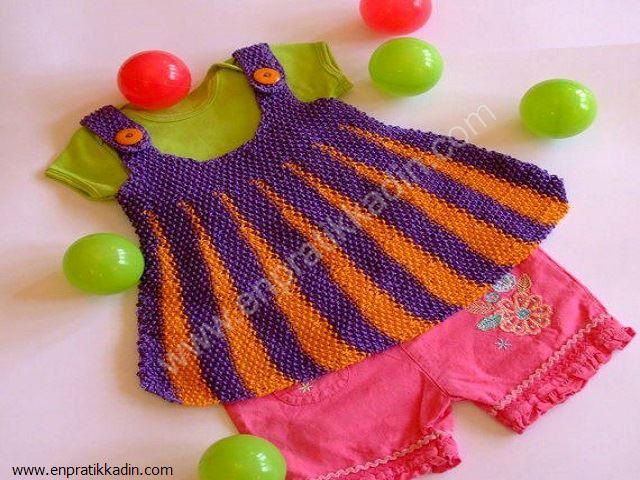 Örgü Çocuk Elbise Modelleri