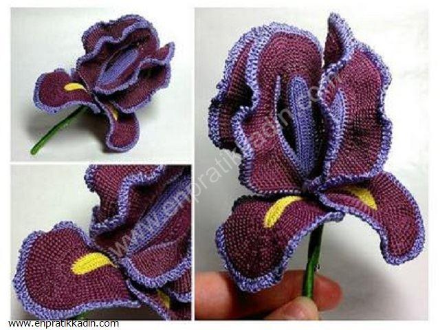 Tığ İşi Yaka İğnesi Çiçek Yapımı